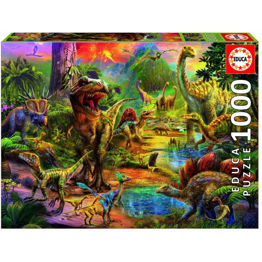 Het land van de dinosaurussen  - legpuzzel van 1000 stukjes-1