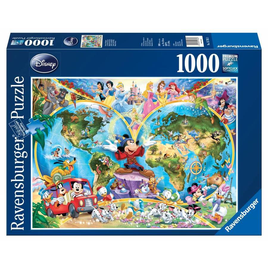 Disney's wereldkaart - puzzel van 1000 stukjes-1