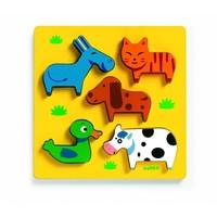 Als kat en hond - houten puzzel - 5 stukjes
