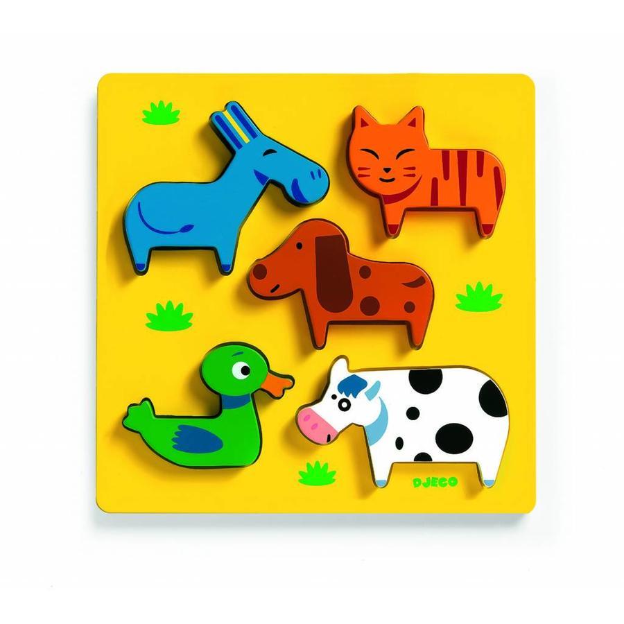Als kat en hond - houten puzzel - 5 stukjes-1