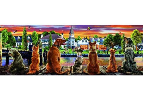 Honden op de kade - 1000 stukjes - Panorama