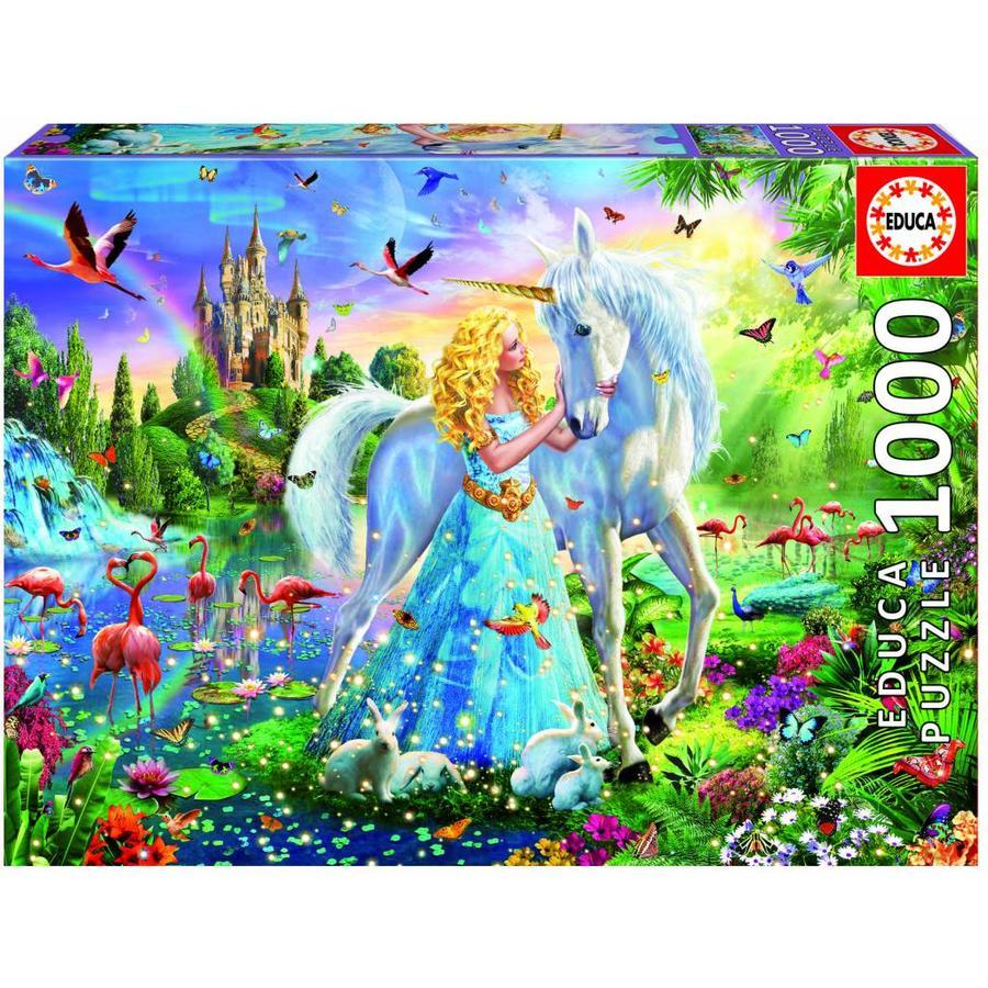 La princesse et la licorne - puzzle de 1000 pièces-1