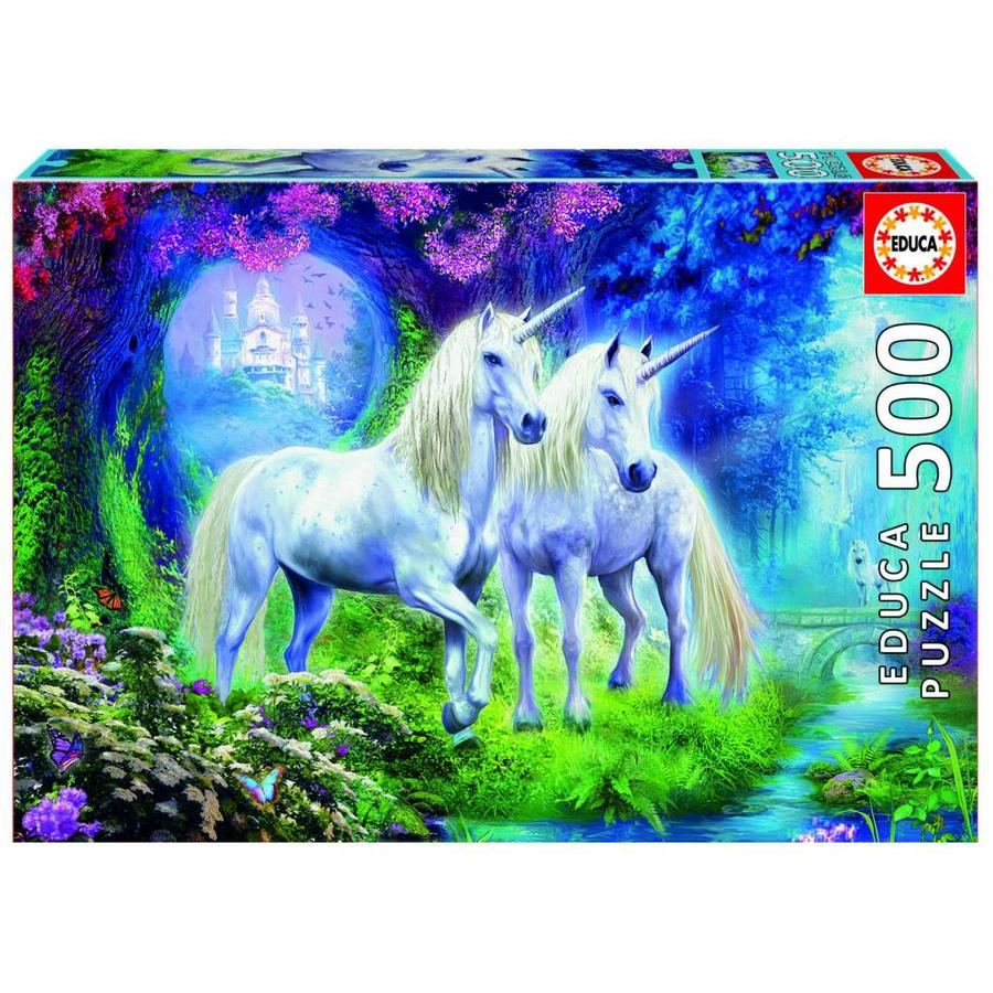 Unicorns in the forest  -  jigsaw puzzle of 500 pieces-2