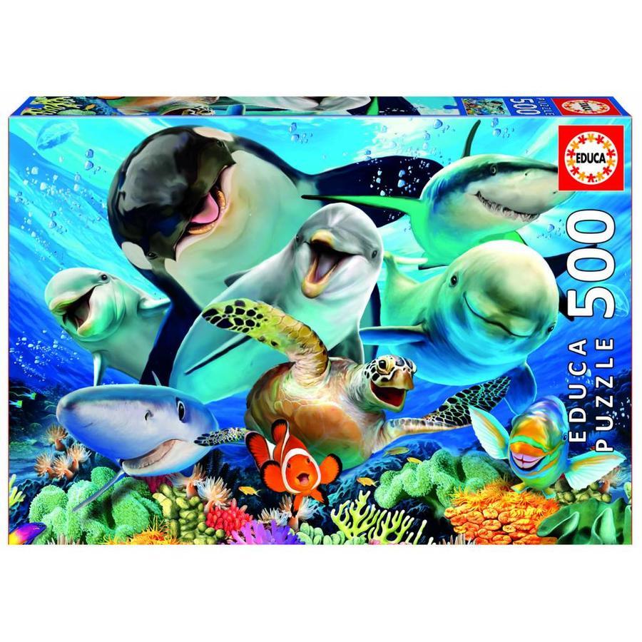 Selfie onder water - legpuzzel van 500 stukjes-1