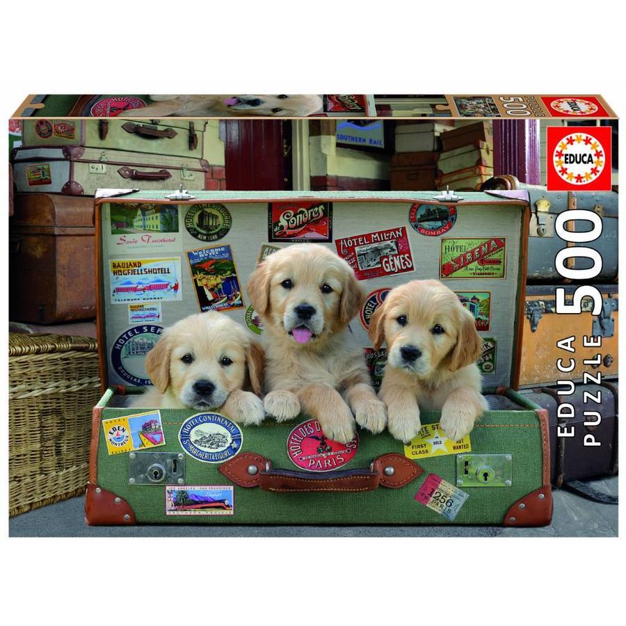 Puppies in de koffer - legpuzzel van 500 stukjes-1