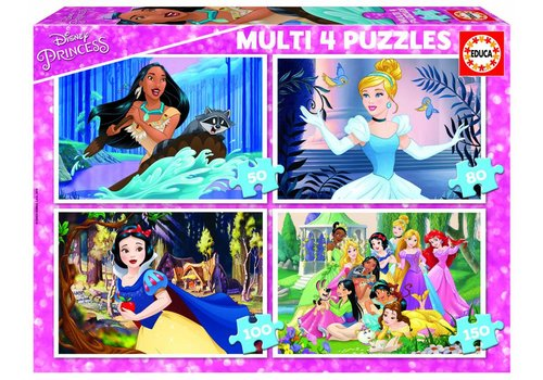 Disney Prinsessen - 4 puzzels van 50 / 80 / 100 / 150 stukjes