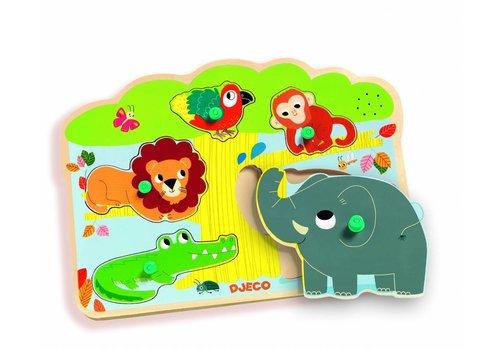 Djeco Puzzle Sound - Zoo - 5 pièces