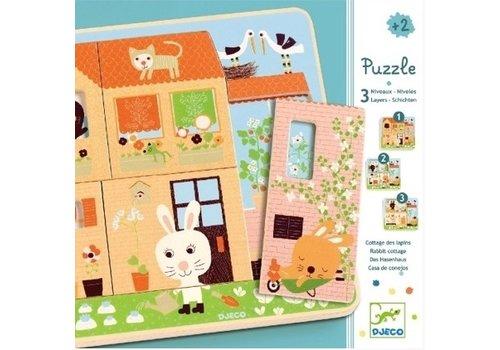 Laagjespuzzel Het huis vol leven - 12 stukjes