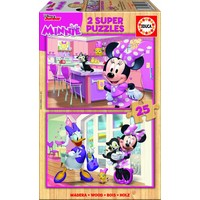 HOUT: Minnie and the Happy Helpers - 2 puzzels x 25 stukjes