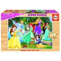 HOUT: Disney Prinsessen - houten puzzel van 100 stukjes