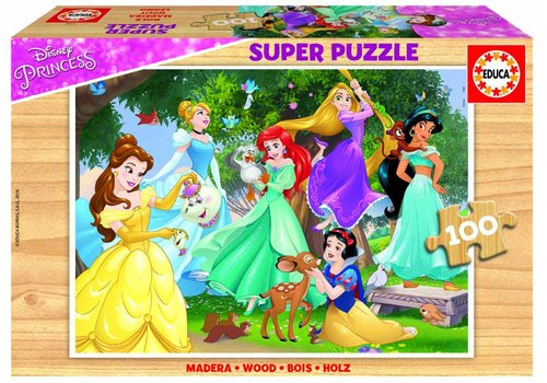 HOUT: Disney Prinsessen  -100 stukjes