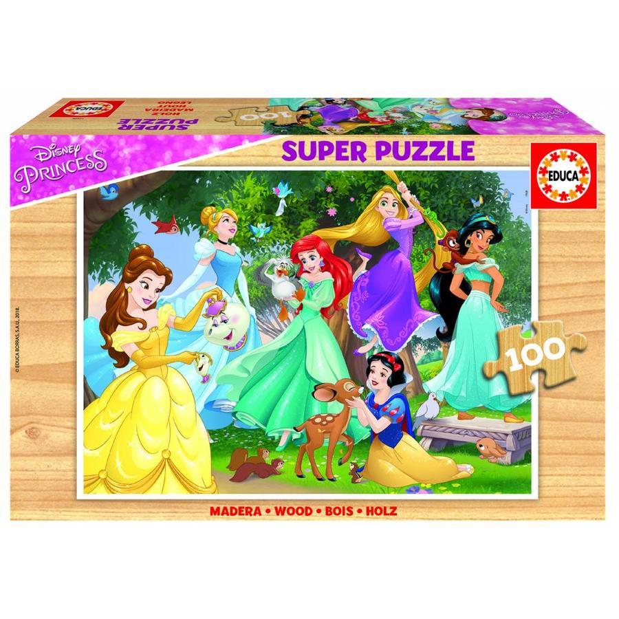HOUT: Disney Prinsessen - houten puzzel van 100 stukjes-1