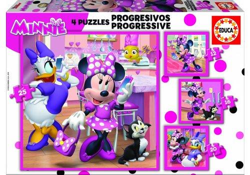 4 puzzels van de Minnie Mouse - 12, 16, 20 en 25 stukjes