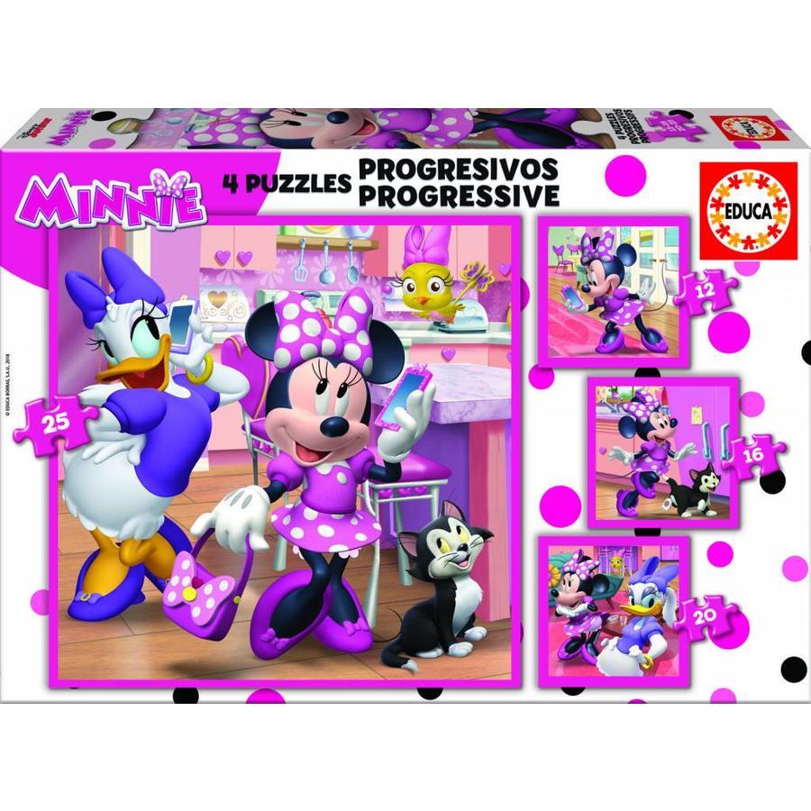 4 puzzels van de Minnie Mouse - 12, 16, 20 en 25 stukjes-1