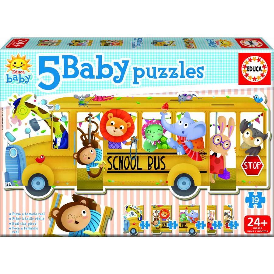 Bus scolaire - puzzle de 19 pièces-1