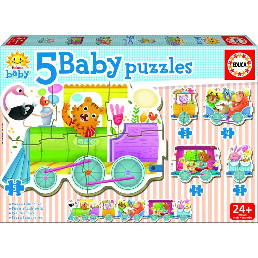 Trein met dieren - puzzel van 19 stukjes-1