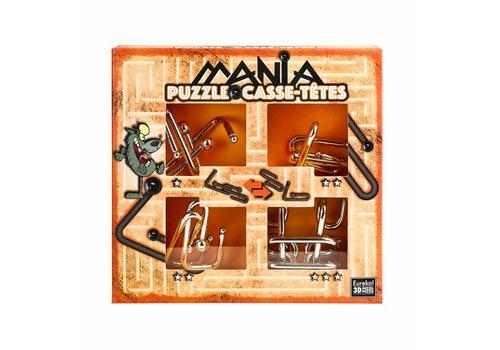 Eureka Mania Puzzels - Oranje - 4 metalen breinbrekers in doos