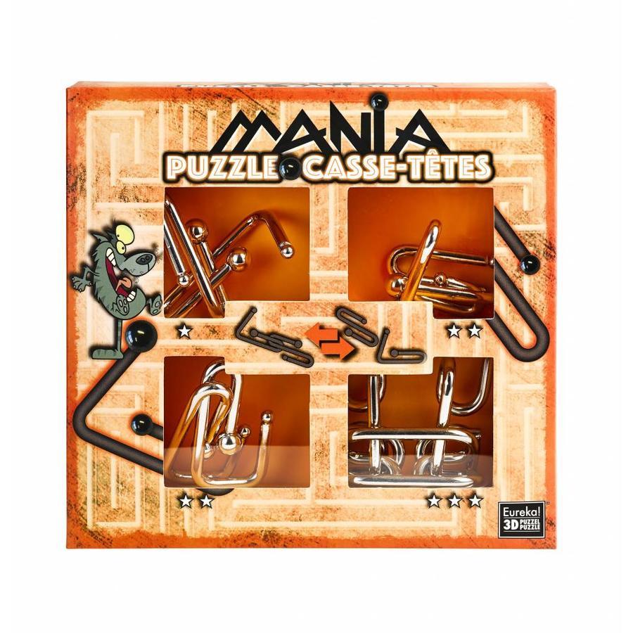 Mania Puzzels - Oranje - 4 metalen breinbrekers in doos-1