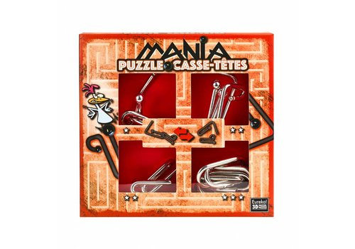 Mania Puzzels - Rood - 4 metalen breinbrekers in doos