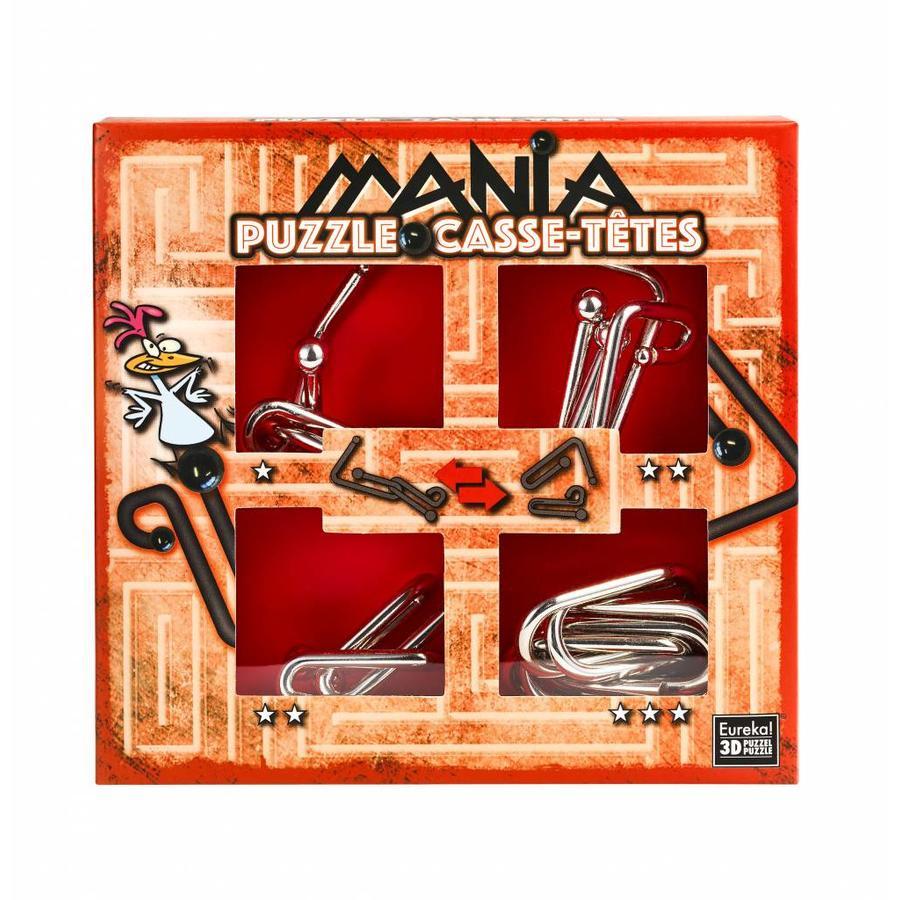 Mania Puzzels - Rood - 4 metalen breinbrekers in doos-1