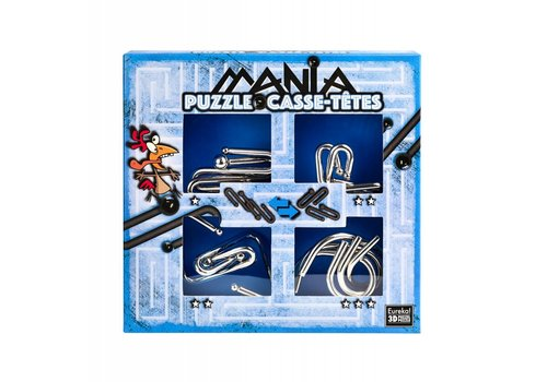 Eureka Mania Puzzels - Blauw - 4 metalen breinbrekers in doos
