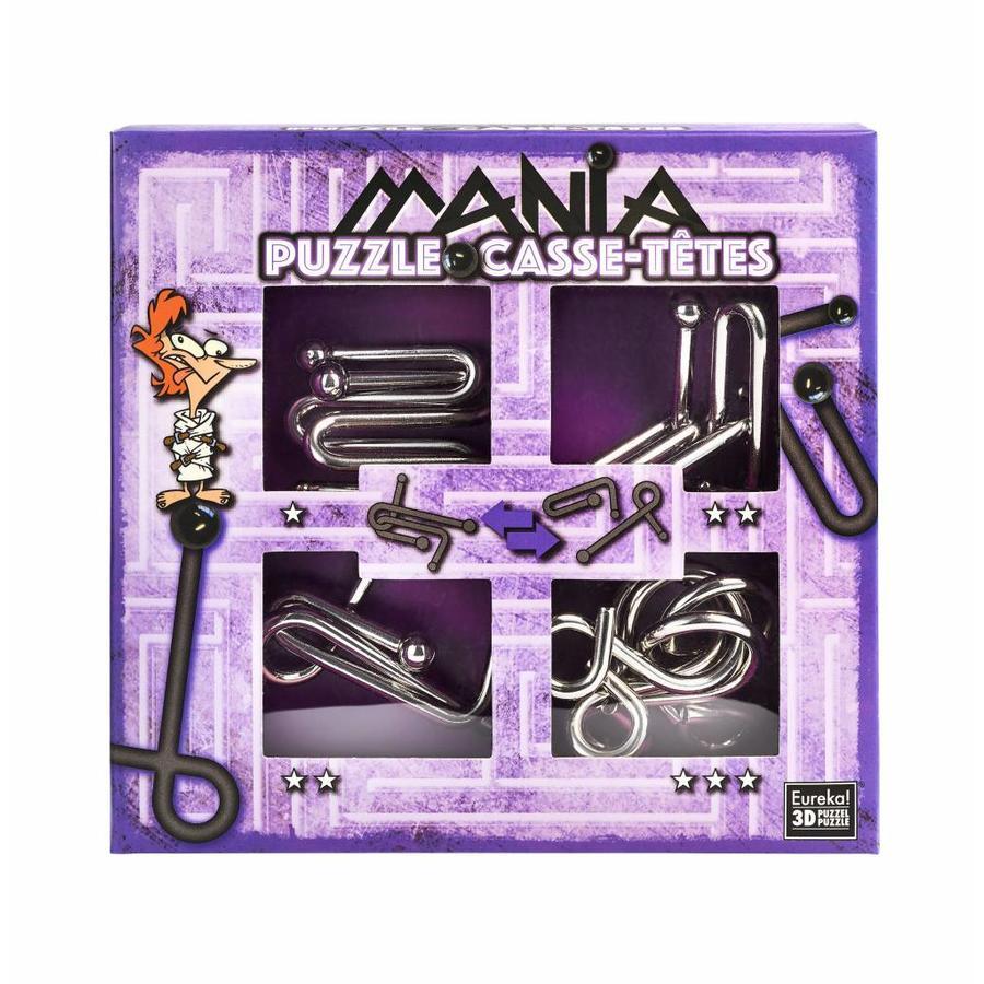 Mania Puzzels - Paars - 4 metalen breinbrekers in doos-1