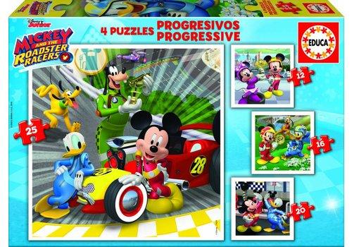 4 puzzels van de Mickey Mouse - 12, 16, 20 en 25 stukjes