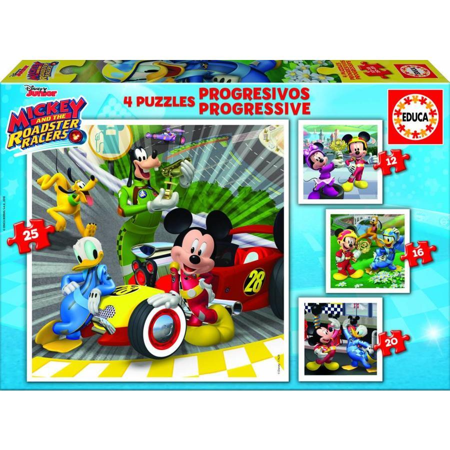 4 puzzels van de Mickey Mouse - 12, 16, 20 en 25 stukjes-1