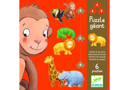 Curl the monkey - 6 puzzles - 4, 6 and 9 pieces
