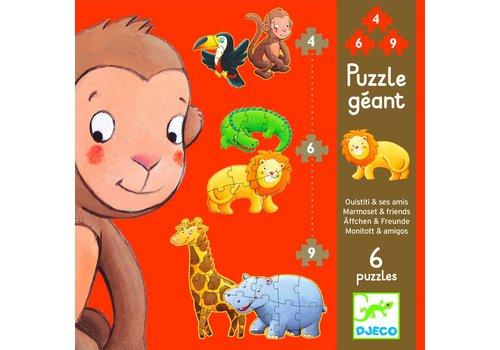 Krul de aap - 6 puzzels - 4, 6 en 9 stukjes