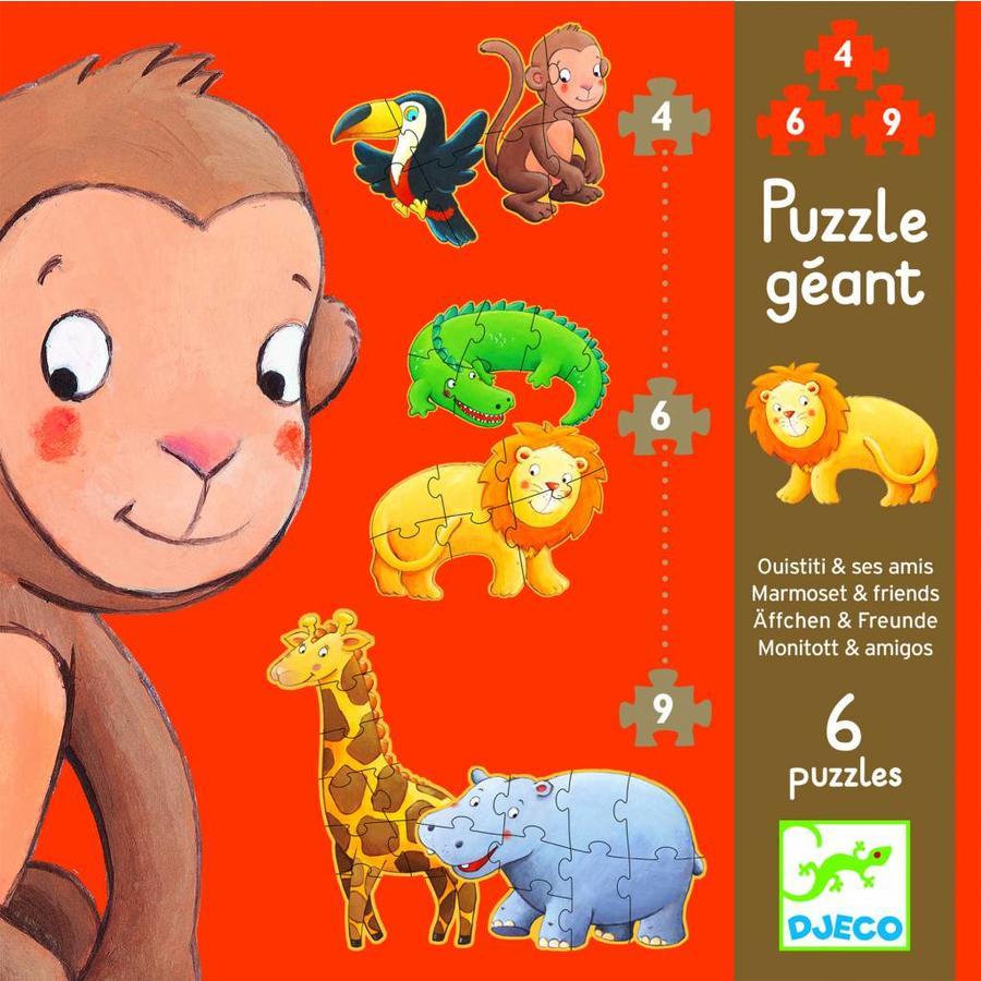 Krul de aap - 6 puzzels - 4, 6 en 9 stukjes-1