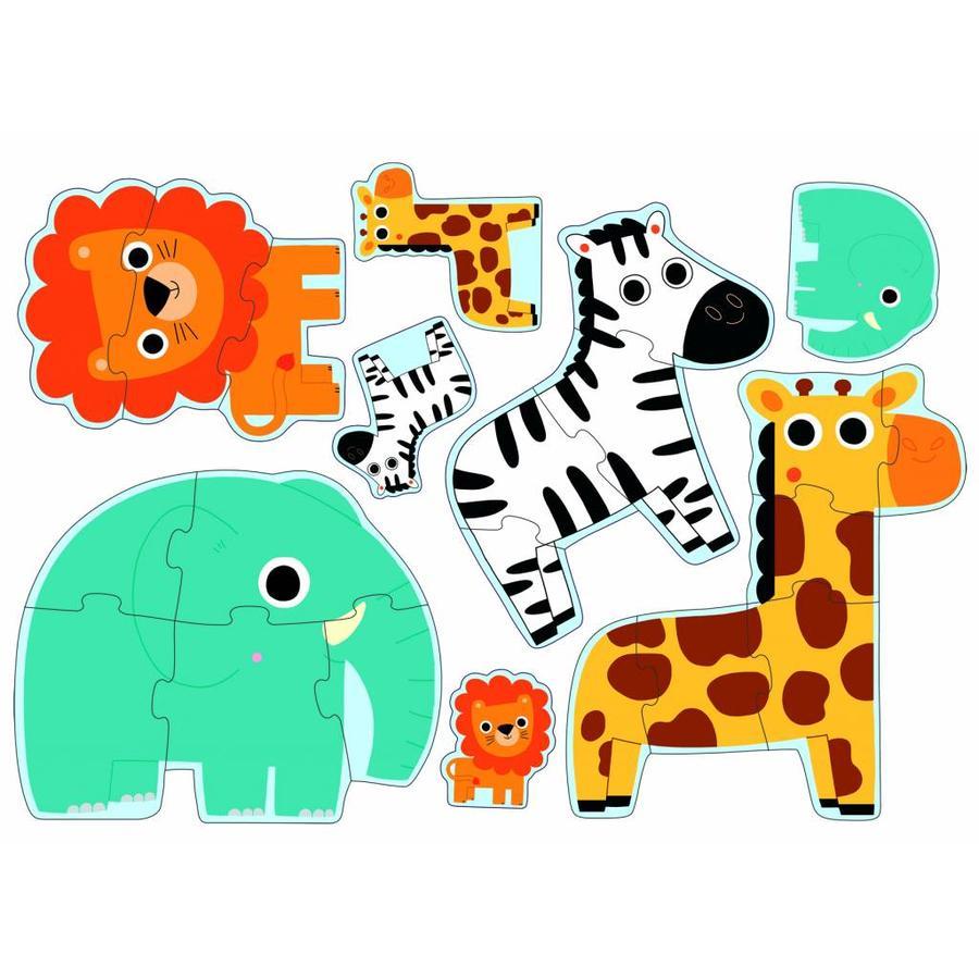 Diertjes uit de zoo - 4 puzzels - 3, 4, 5 en 6 stukjes-2