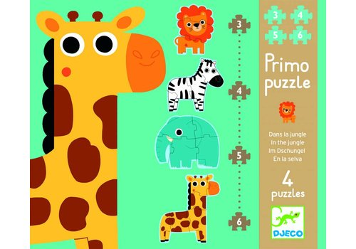 Animals from the zoo - 4 puzzles - 3, 4, 5 and 6 pieces