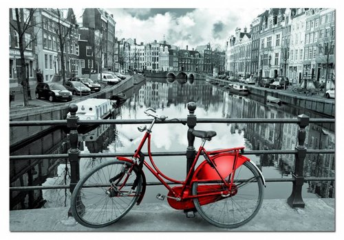Red bike in Amsterdam, 1000 pieces