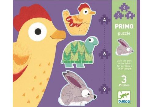 3 puzzels dieren in de wei - 4, 6 en 9 stukjes