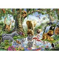 thumb-Avonturen in de jungle - puzzel van  1000 stukjes-1