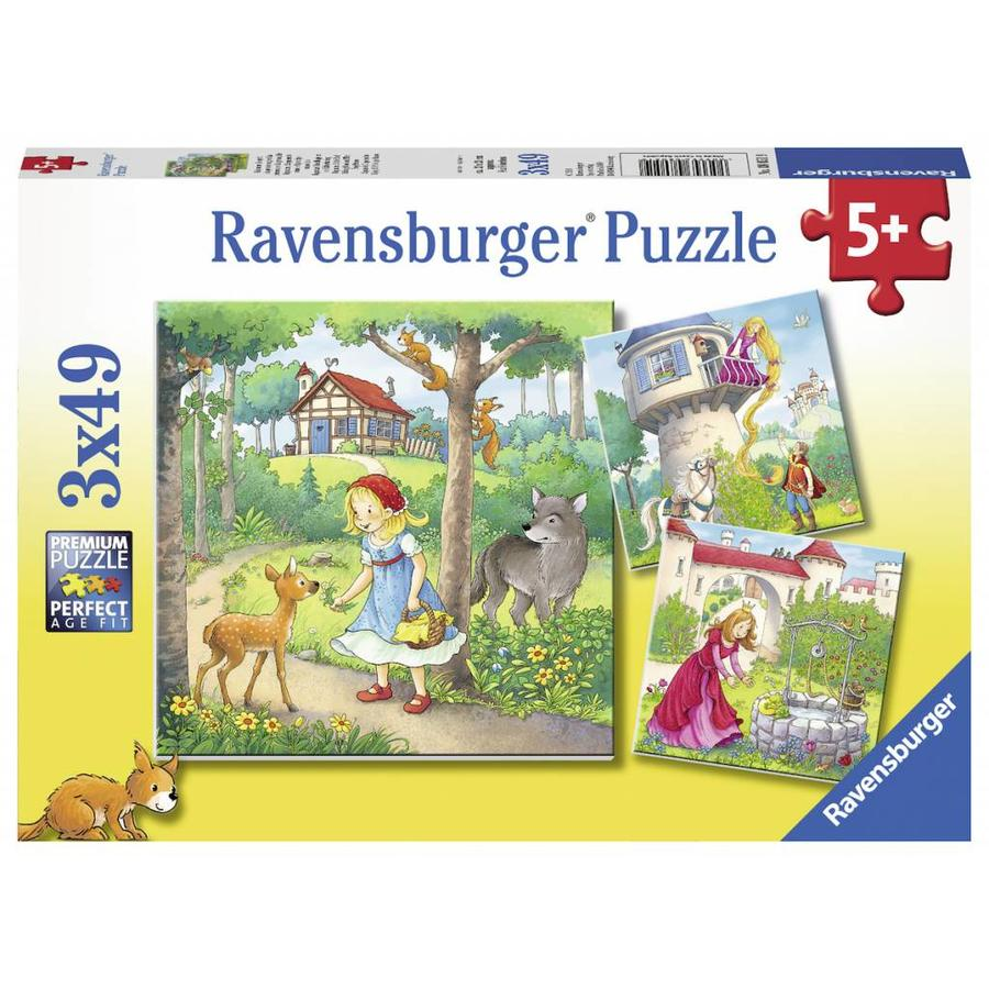 Little Red Riding Hood and others - 3 puzzles of 49 pieces-1
