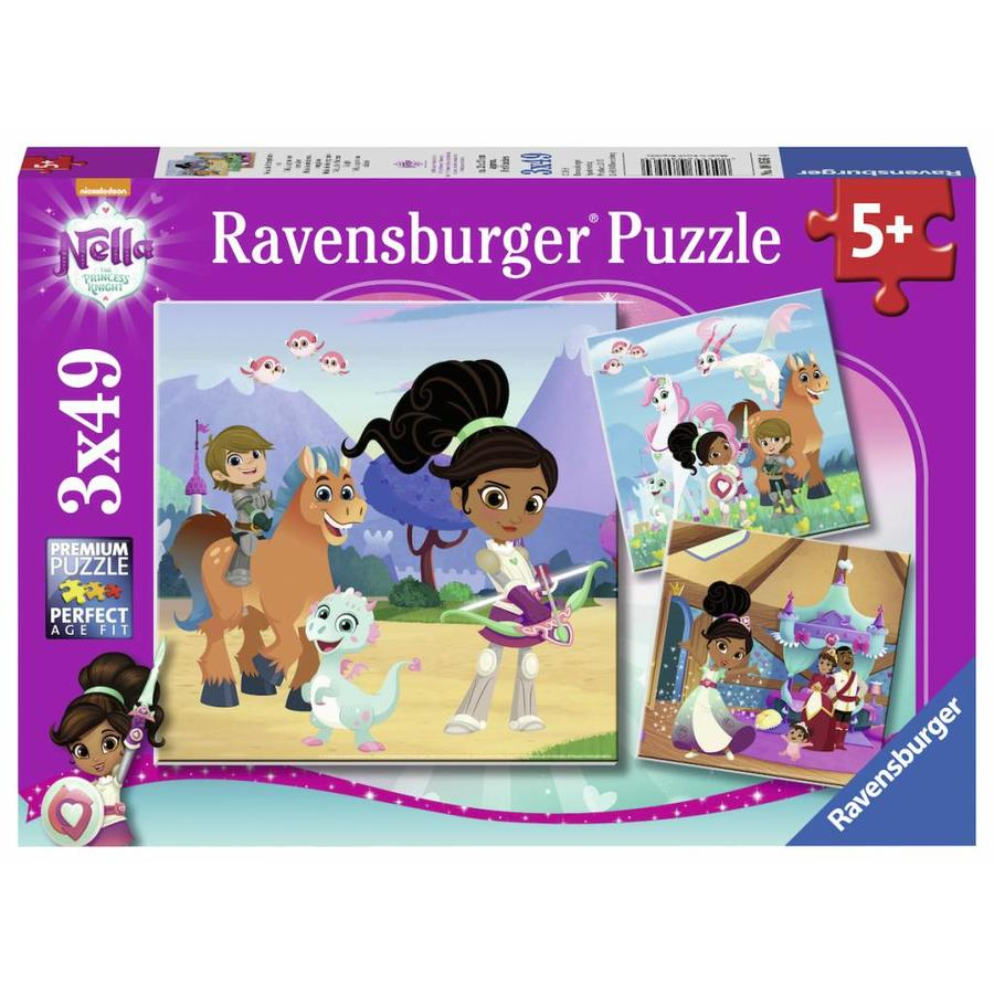 Ravensburger Nella, the princess knight - 3 puzzles of 49 pieces