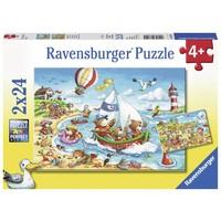 thumb-Vakantie aan zee  - 2 puzzels van 24 stukjes-1