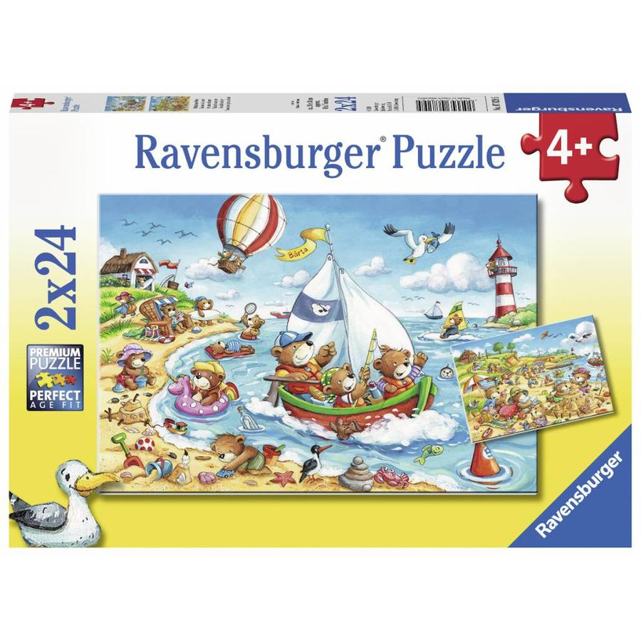 Vakantie aan zee  - 2 puzzels van 24 stukjes-1