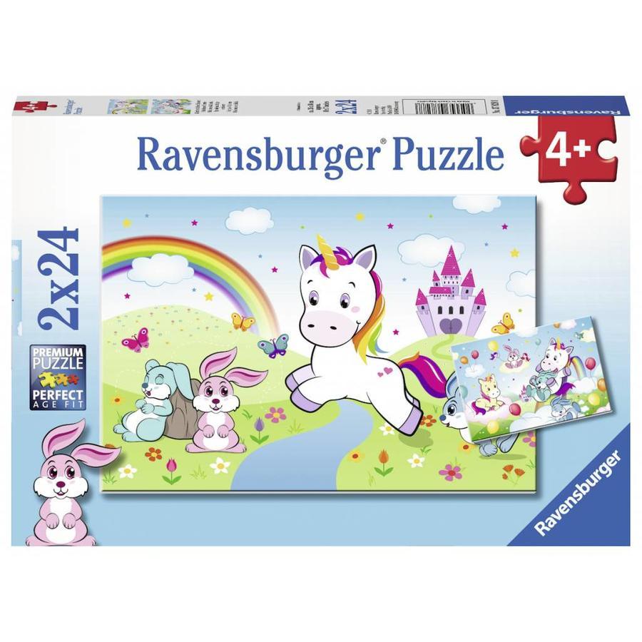 Sprookjesachtige eenhoorns  - 2 puzzels van 24 stukjes-1