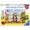 Ravensburger Katjes op ontdekkingsreis - 2 puzzels van 12 stukjes