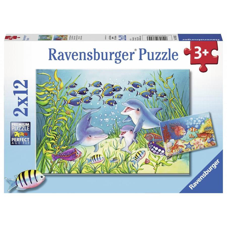 Au fond de la mer  - 2 puzzles de 12 pièces-1