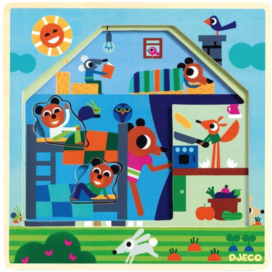 HOUTEN Laagjespuzzel - Bij Gaby thuis - 9 stukjes-2