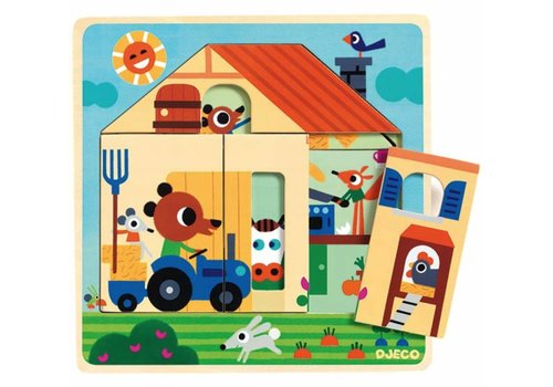 Djeco WOODEN Layer puzzle - At Gaby's place - 9 pieces