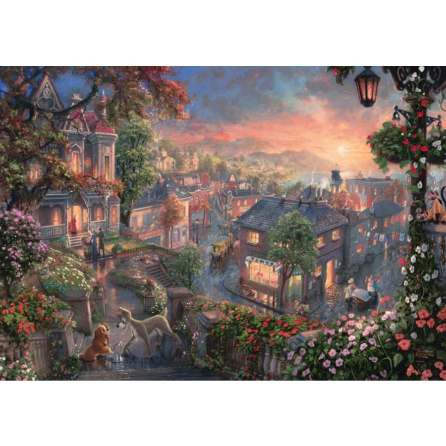 Lady and the Tramp - Thomas Kinkade - jigsaw puzzle of 1000 pieces-1