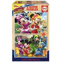 HOUT: Mickey Mouse - 2 puzzels x 16 stukjes