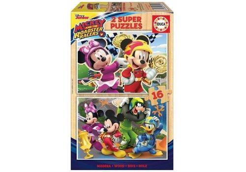 HOUT: Mickey Mouse - 2 x 16 stukjes