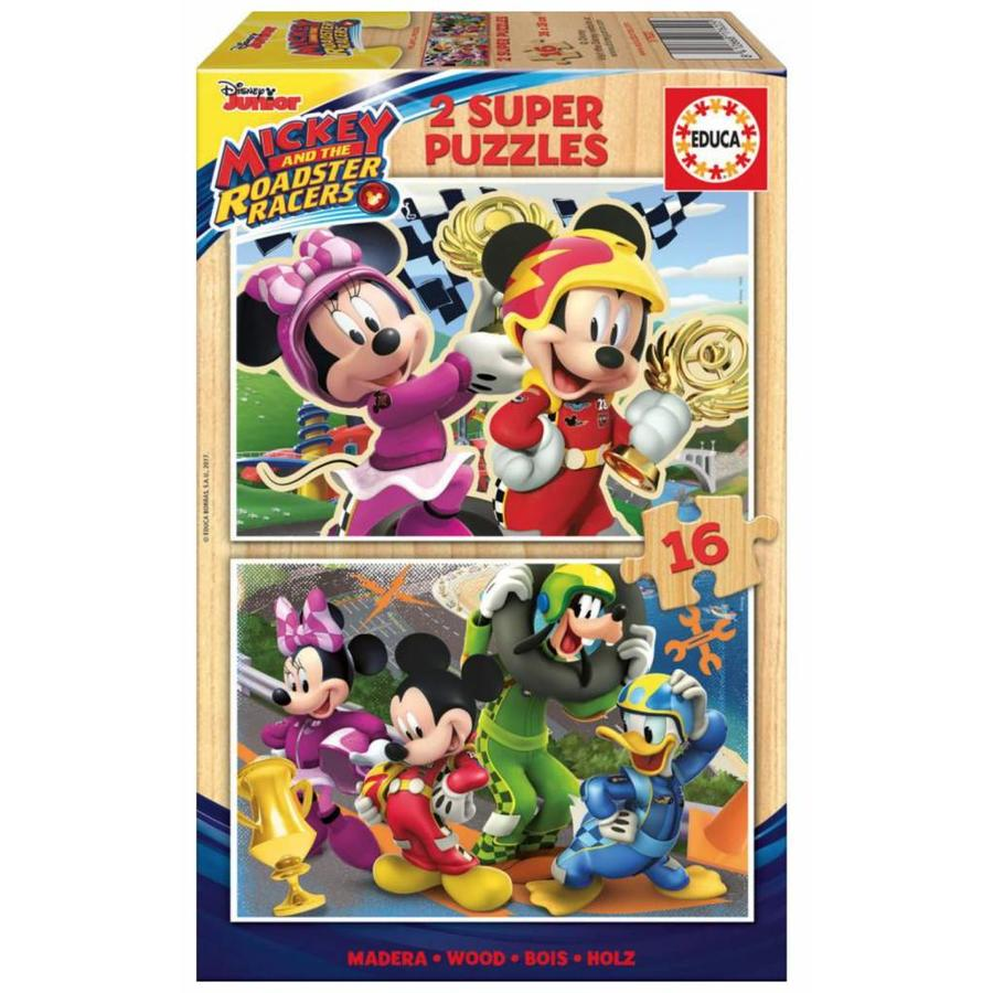 HOUT: Mickey Mouse - 2 puzzels x 16 stukjes-1