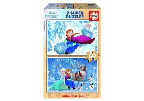 Educa BOIS: Frozen - 2 x 50 pièces